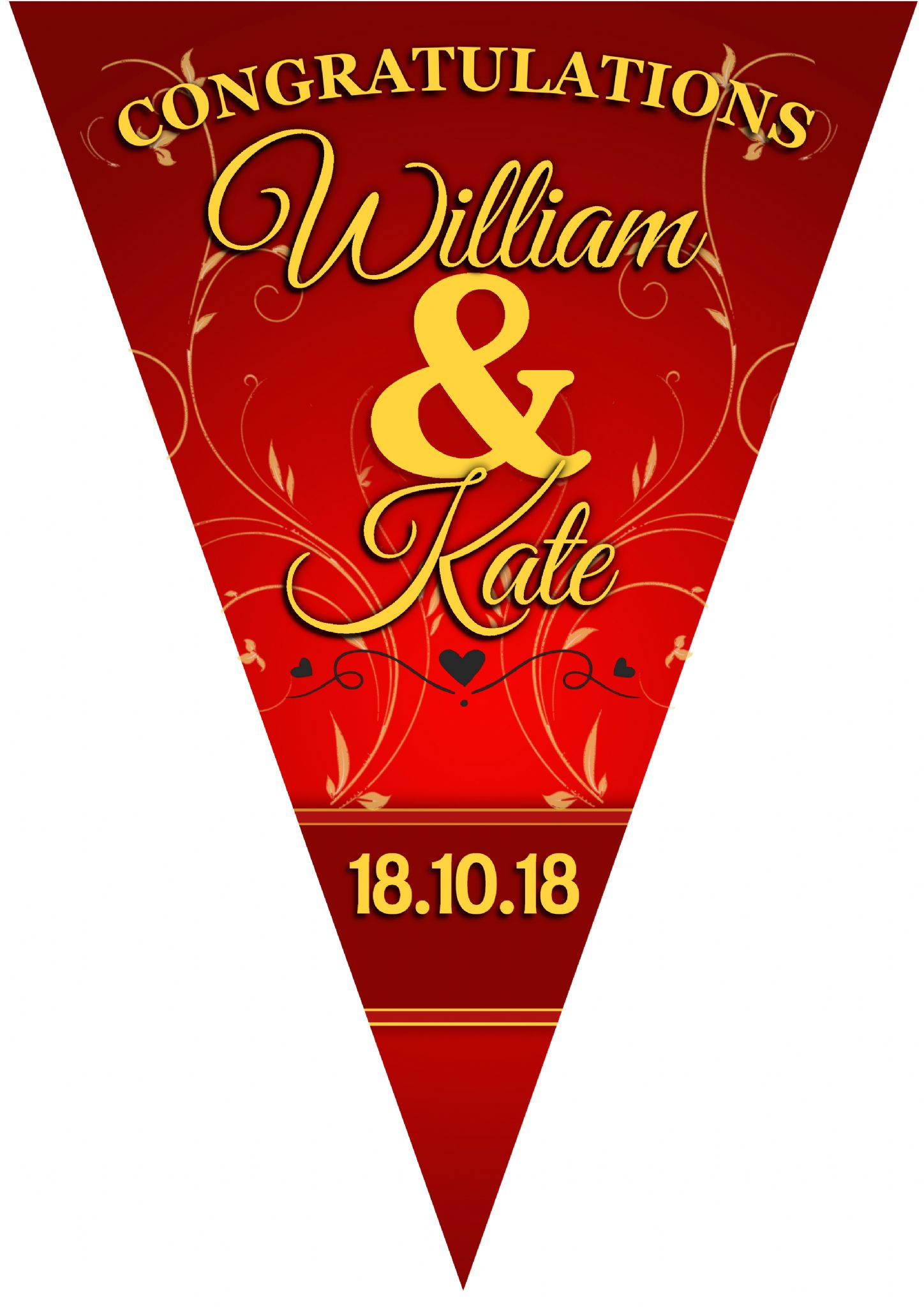 Personalised Red Amp Gold Wedding Ruby Anniversary